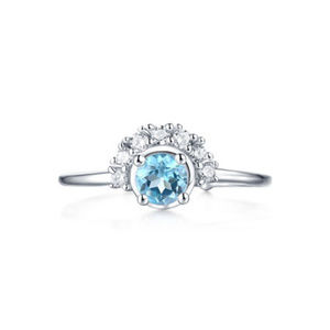 4.5mm Round Cluster  Sky Blue Topaz Silver Ring